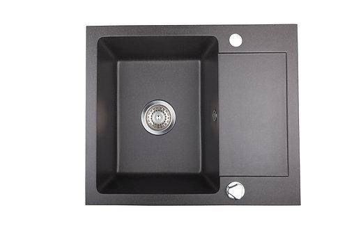 Zlewozmywak granitowy Costa 59x50 1-komorowy Czarny PYRAMIS