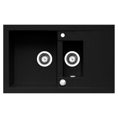 Zlewozmywak granitowy STUDIO 78x48 1,5-komorowy Czarny PYRAMIS