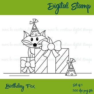 Birthday Fox Digital Stamp