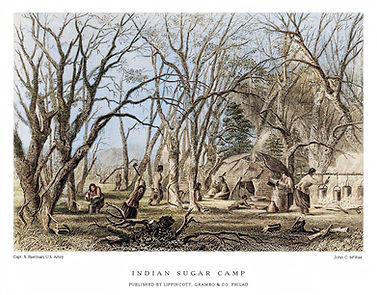 Woodcut - Indigenous Maple Camp (1853)