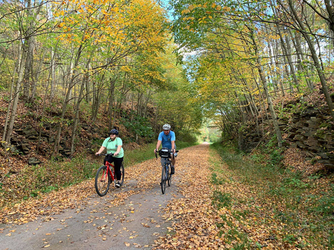 Bicycling along the Great Allegheny Passage bicycle trail.
