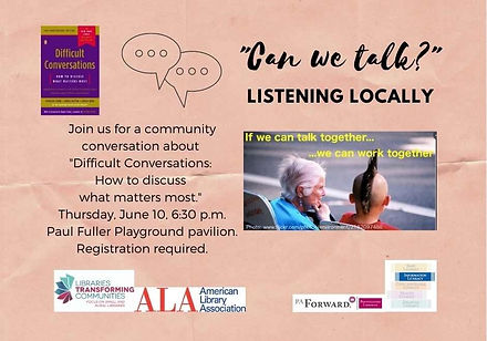 """Includes words """"Can we talk?"""" and speech bubbles representing conversation. Image of elderly lady and youth with Mohawk haircut talking together."""