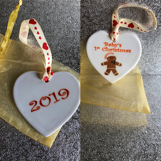 Ceramic heart decoration. £4