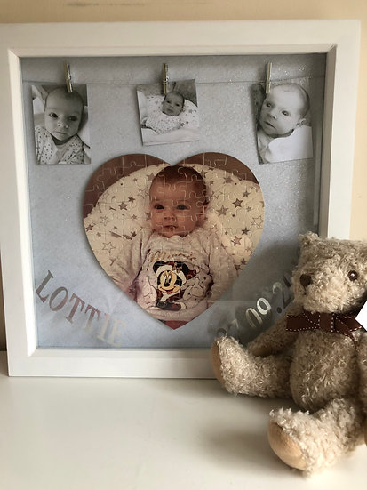 Heart shape jigsaw photo in a frame 40 x 40 cm £30