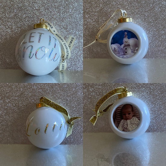 Personalised Christmas Bauble (White). £5