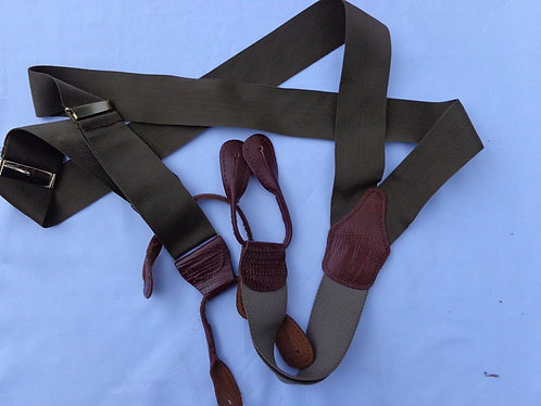 Made in England suspenders in olive