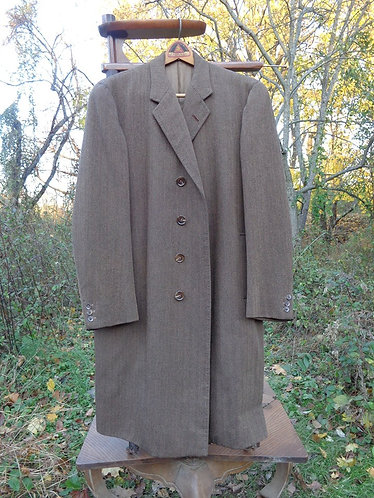 Vintage Tweed Topcoat in Black and Brown Herringbone