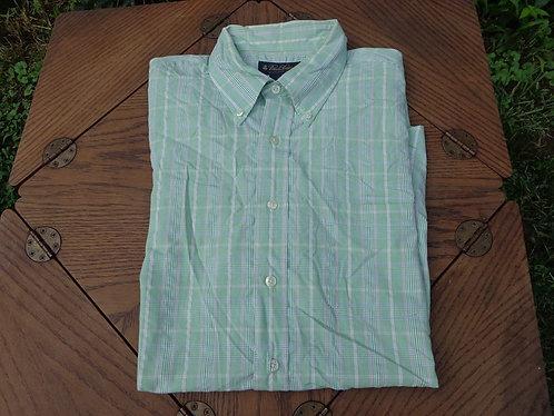 Brooks Brothers green summer plaid short sleeve shirt