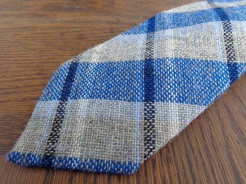 Blue, slate, and cream wool tie