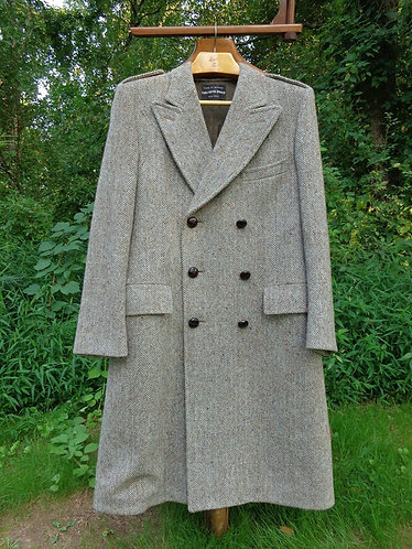 Vintage Double-breasted Harris Tweed overcoat