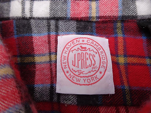 J. Press Red and Cream Plaid Flannel Shirt