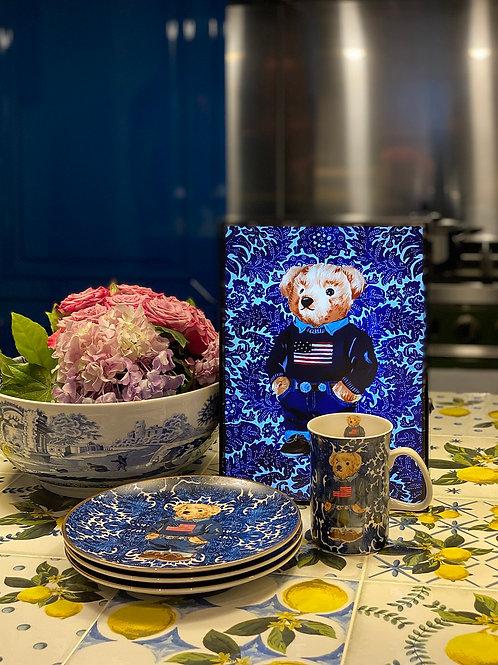 Vitelli Lacivert Beyaz Teddy Bear Desenli Masa Lambası