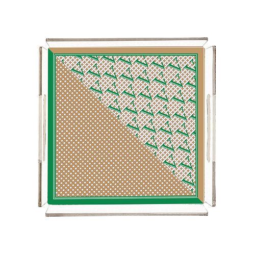 Vitelli Monogram Parçalı Desen 32x32 Kare Pleksi Tepsi