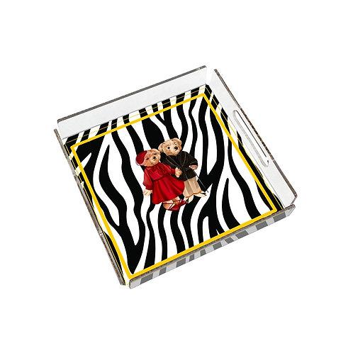 Vitelli Zebra Teddy Bear Desenli 24x24 Pleksi Tepsi