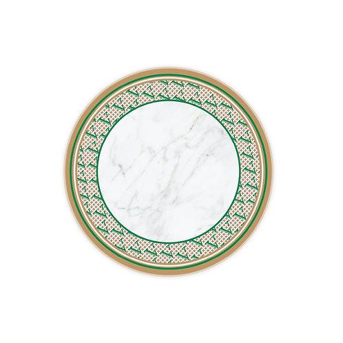 Vitelli Monogram Düz Desen Yuvarlak Mermer Peynir Sunum Tabağı