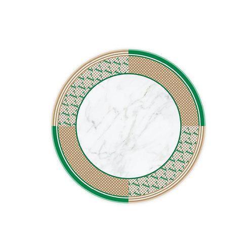 Vitelli Monogram Parçalı Desen Yuvarlak Mermer Peynir Sunum Tabağı