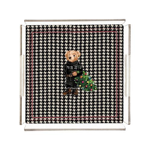 Vitelli Green Christmas Teddy Bear Desenli 32x32 Pleksi Tepsi