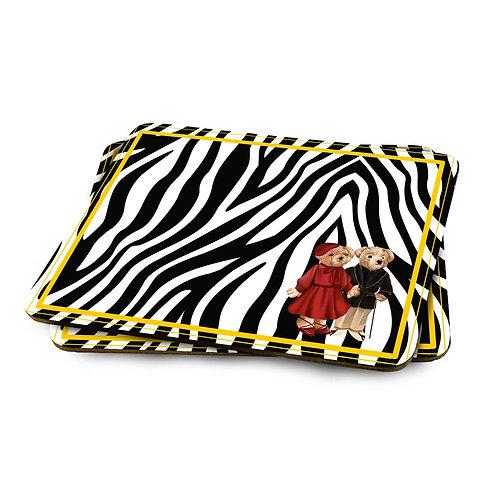 Vitelli Zebra Teddy Bear Desenli 2'li MDF Amerikan Servis