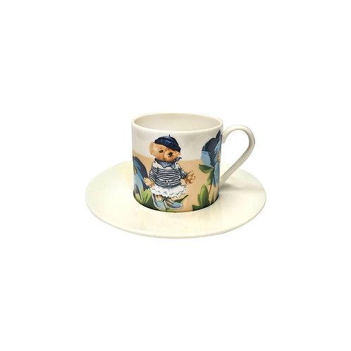 Vitelli Mavi Manolya Desenli Porselen Türk Kahvesi Fincanı