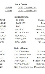 2021 Fall Competition Schedule