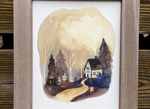 Custom 8 x 10 Original Painting - Bunny Hut