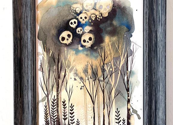 Custom 9 x 12 Original Painting - Skull Garden