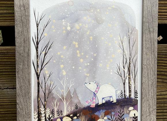 Custom 8 x 10 Original Painting - Polar Bear Night