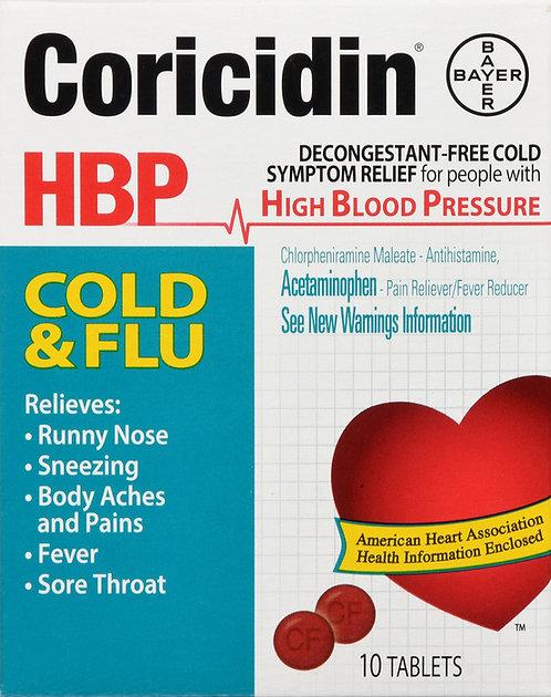 CORICIDIN HBP COLD FLU TABLET 10CT