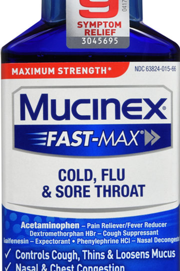MUCINEX LIQUID COLD, FLU AND SORE THROAT 6 OZ