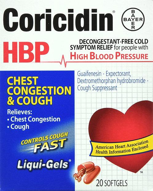 CORICIDIN HBP CHEST CONGESTION AND COUGH SOFTGEL CAPLET 20 CT