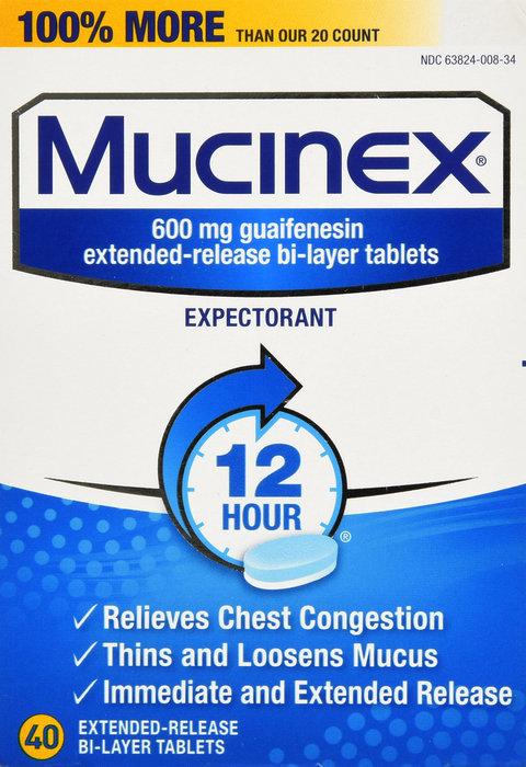 MUCINEX EXPECTORANT TABLET 40CT