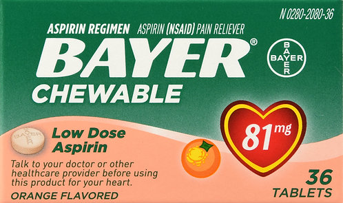 BAYER ASPIRIN LOW DOSE CHEWTAB ORANGE 36CT