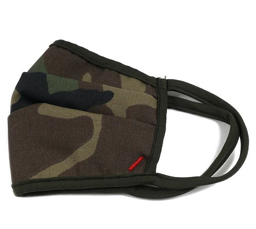 Camo Pleated Comfort Fit Face Mask, Cotton