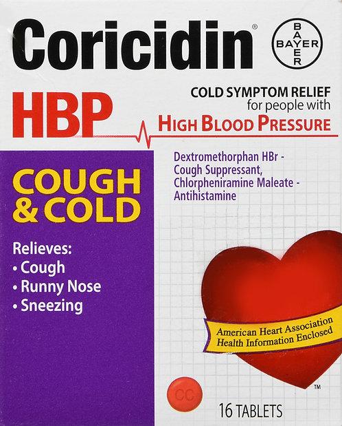 CORICIDIN HBP COUGH COLD TABLET 16CT