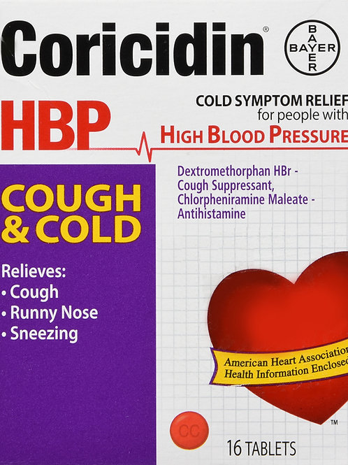 CORICIDIN HBP COUGH COLD TABLET 16CT