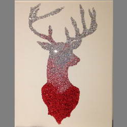 Glitter Red, Pink and Silver Stag