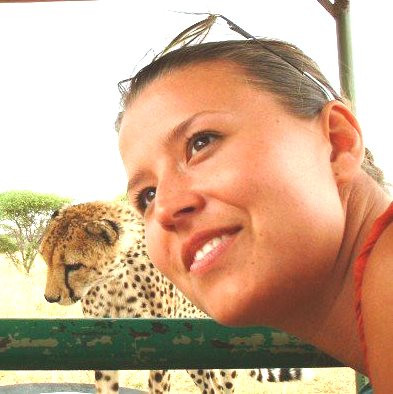 Kate and cheetah at Okonjima.jpg