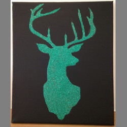 Green Stag on black background
