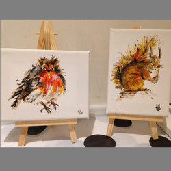 Squirrel and Robin on Easels