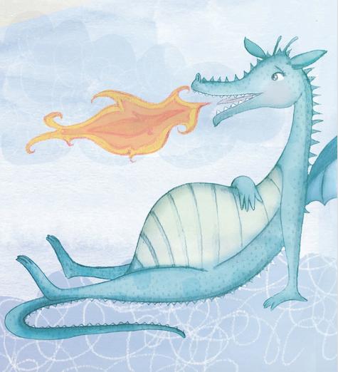 Friendly blue dragon