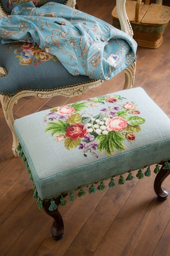 needlepoint foot stool