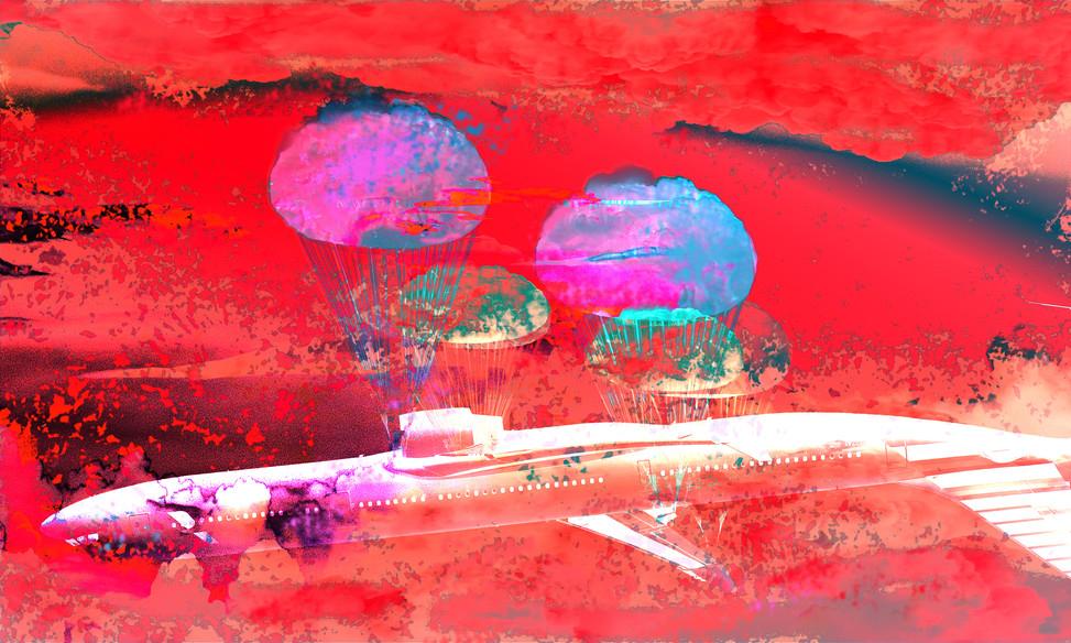 parachuting airplane - red