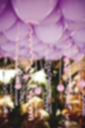 Lilac helium filled ceiling balloons
