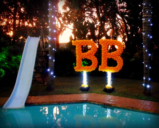 BB balloon Lettering on Stands