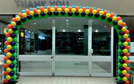 Large multi-colored store arch