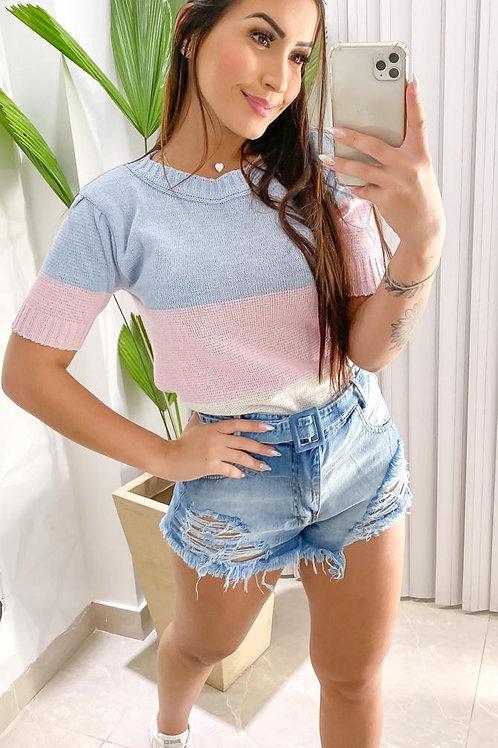 Blusa tricô tricolor