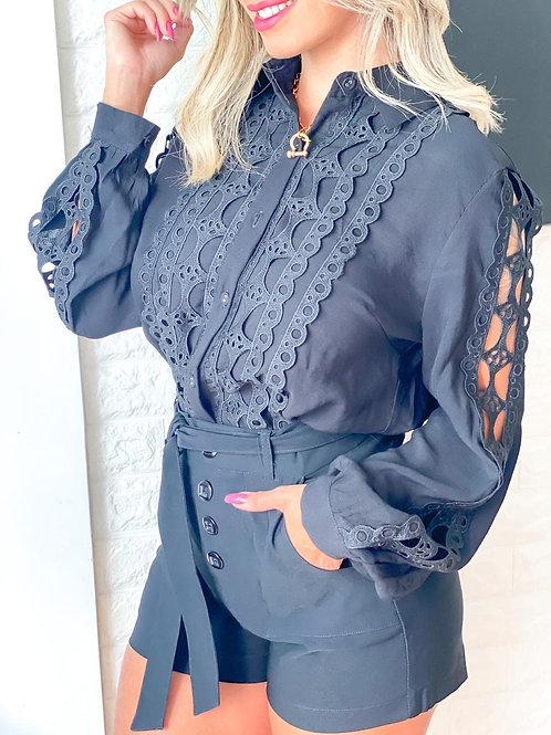 Blusa linho de seda guipire