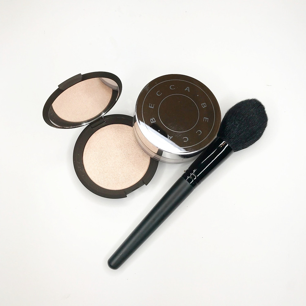 becca highlighter hydrating finishing powder bare minerals synthetic brush fresh face beauty makeup artist review blogger