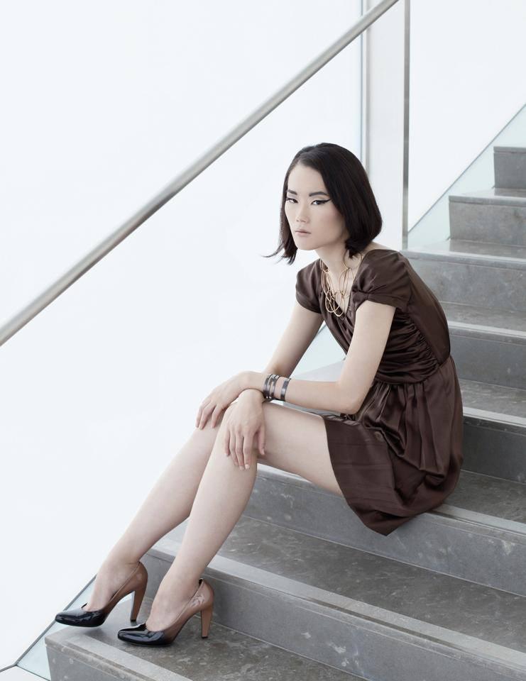 avant guarde stylized makeup for Asian model