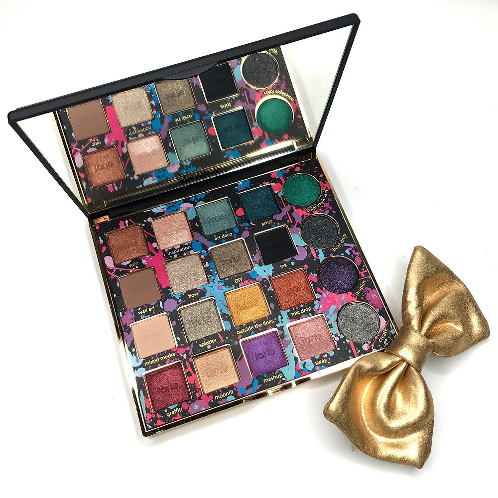 Tarte palette Tarteist remix favorite eyeshadow swatches shimmer shadow matte shadow holiday palette best makeup review makeup junkie